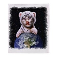 Tiger Cub on Earth Throw Blanket