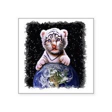 "Tiger Cub on Earth Square Sticker 3"" x 3"""