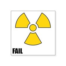"Nuclear symbol FAIL-black Square Sticker 3"" x 3"""