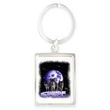 Wolf pack on Moon Portrait Keychain