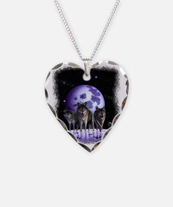 Wolf pack on Moon Necklace