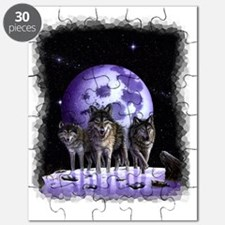 Wolf pack on Moon Puzzle