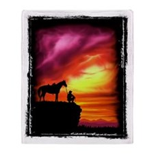 Cowboy and Horse Throw Blanket