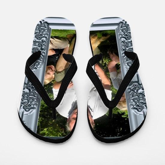 Custom silver baroque framed photo Flip Flops