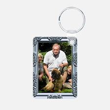Custom silver baroque framed photo Keychains