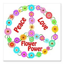 "flowerpower Square Car Magnet 3"" x 3"""