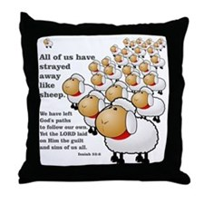 Isaiah_53_sheep Throw Pillow