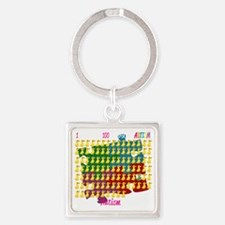Autism-1-out-of-100-blk Square Keychain