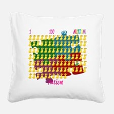 Autism-1-out-of-100-blk Square Canvas Pillow
