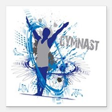 "Male_Gymnast Square Car Magnet 3"" x 3"""