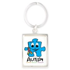 Autism-Cartoon-Puzzle Portrait Keychain