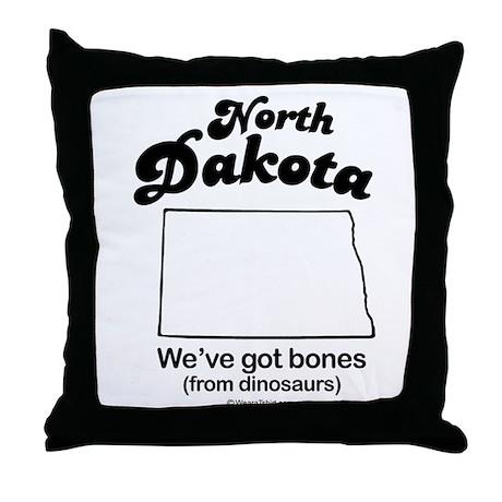 North Dakota - we've got bones Throw Pillow