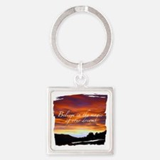 Believe Sunset Square Keychain