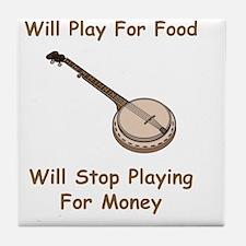Banjo For Money Brown Tile Coaster