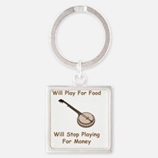 Banjo For Money Brown Square Keychain