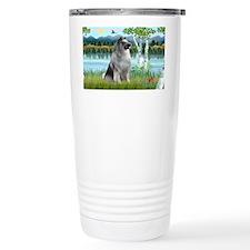 LIC-Birches-Keeshond Ceramic Travel Mug
