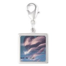 clouds heart ripple Silver Square Charm