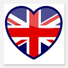 "Heart England Square Car Magnet 3"" x 3"""