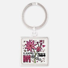 peace love joy flower Square Keychain