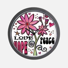 peace love joy flower Wall Clock