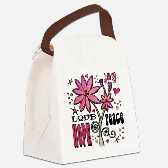peace love joy flower Canvas Lunch Bag