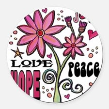 peace love joy flower Round Car Magnet