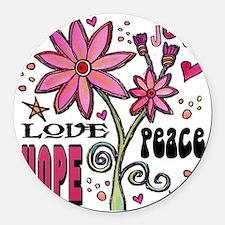 peace love joy flower Round Car Magnet
