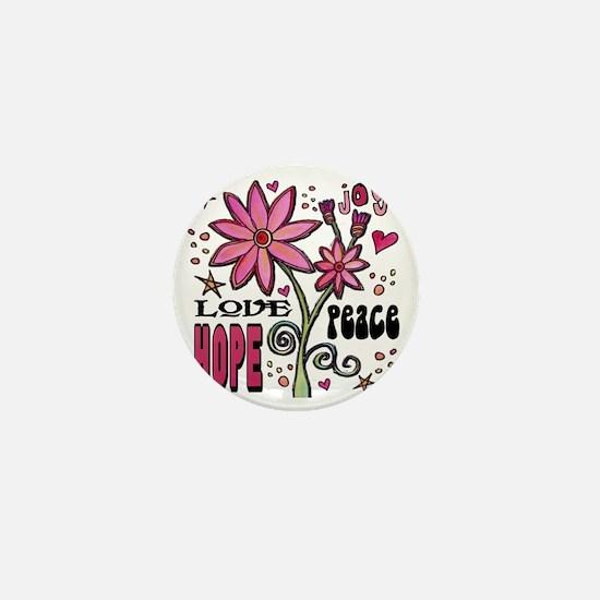 peace love joy flower Mini Button