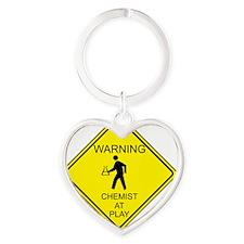 WARNING chemist at play Heart Keychain