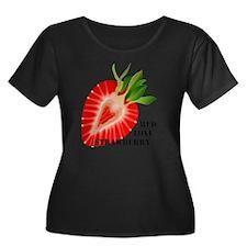 strawber Women's Plus Size Dark Scoop Neck T-Shirt