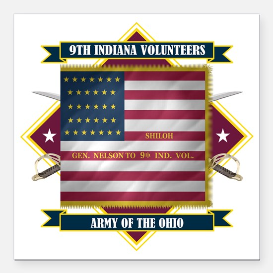 "9th Indiana (Diamond) Square Car Magnet 3"" x 3"""