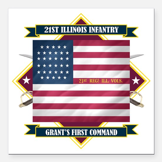 "21st Illinois (Diamond) Square Car Magnet 3"" x 3"""