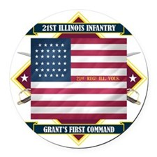 21st Illinois (Diamond) Round Car Magnet