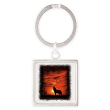 Coyote Howling Square Keychain