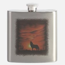 Coyote Howling Flask