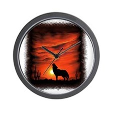 Coyote Howling Wall Clock