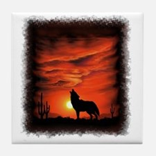 Coyote Howling Tile Coaster