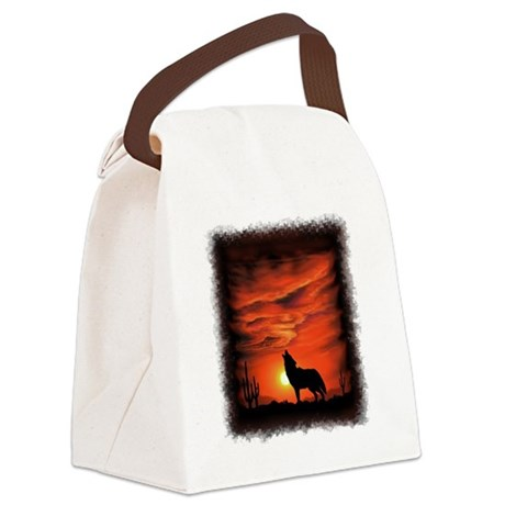 Coyote Howling Canvas Lunch Bag