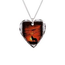 Coyote Howling Necklace Heart Charm