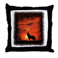 Coyote Howling Throw Pillow