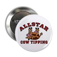 Cow Tipping Brown Cow Button