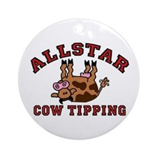 Cow Tipping Brown Cow Ornament (Round)