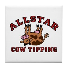Cow Tipping Brown Cow Tile Coaster