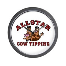 Cow Tipping Brown Cow Wall Clock