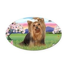 LIC-Blossoms-YorkshireTerrier7 Oval Car Magnet