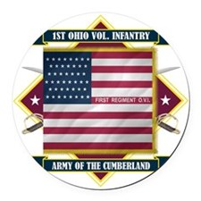 1st Ohio Volunteer Infantry (Diam Round Car Magnet