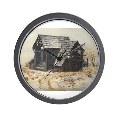 Wall Clock with old barn painting