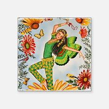 "FLOWER DANCINGPillow Square Sticker 3"" x 3"""