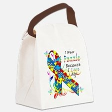 I Wear A Puzzle Because I Love My Canvas Lunch Bag