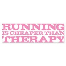 Running Therapy Pink Bumper Sticker